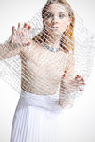 Beautiful girl in a white dress covered with a mesh Stock Photography