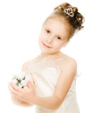 Beautiful girl in white dress with a flower Royalty Free Stock Images