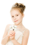 Beautiful girl in white dress with a flower Royalty Free Stock Image