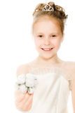 Beautiful girl in white dress with a flower Royalty Free Stock Photos
