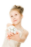 Beautiful girl in white dress with a flower Stock Photography