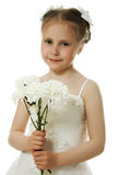 Beautiful girl in white dress with a flowers Royalty Free Stock Photos