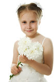 Beautiful girl in white dress with a flowers Royalty Free Stock Photography