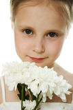 Beautiful girl in white dress with a flowers Stock Images