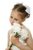 Beautiful girl in white dress with a flowers Royalty Free Stock Image