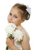 Beautiful girl in white dress with a flowers Stock Photos