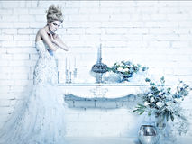 Beautiful girl in white dress in the image of the Snow Queen with a crown on her head. Stock Photography