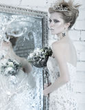 Beautiful girl, white dress in image of the Snow Royalty Free Stock Photography