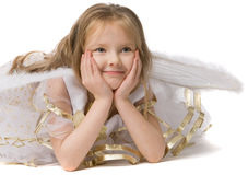 Beautiful girl in white dress lie on floor Stock Image