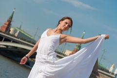 Beautiful girl in white dress Stock Photography