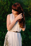 Beautiful girl in a white dress Royalty Free Stock Image