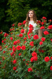 Beautiful girl in white dress surrounded by lots of blooming ros Stock Photo