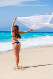 Beautiful Girl With White fabric on The Beach. Stock Images