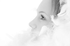 Beautiful girl with white feathers Stock Photos