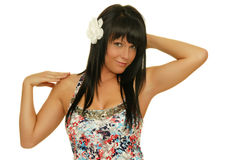 Beautiful girl with white flower in her hair Stock Images
