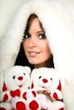 Beautiful girl in white fur Royalty Free Stock Photos