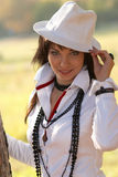 Beautiful girl in the white hat Stock Photos