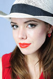 Beautiful girl in white hat Royalty Free Stock Image