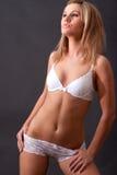 Beautiful girl in white lingerie Stock Photo