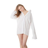 The beautiful girl in a white men shirt Royalty Free Stock Images