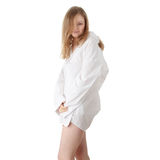 The beautiful girl in a white men shirt Royalty Free Stock Photo