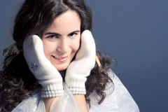 Beautiful girl in white mittens. Royalty Free Stock Photos