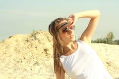 Beautiful girl in white poppy Stock Photography