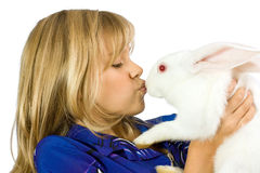 The beautiful girl with a white rabbit Stock Photo
