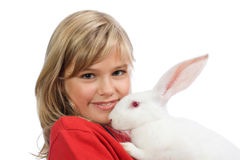The beautiful girl with a white rabbit Royalty Free Stock Photos