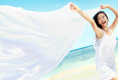 Beautiful Girl With White Scarf on The Beach Royalty Free Stock Images