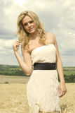 Beautiful girl with white dress Royalty Free Stock Images