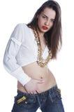 Beautiful girl in a white shirt Stock Photo