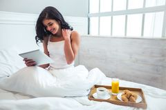 Breakfast beautiful girl Stock Photography