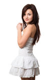 Beautiful girl in a white sundress Royalty Free Stock Photos