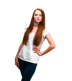 Beautiful girl in a white T-shirt. Isolated on white background Royalty Free Stock Photo