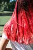 Woman hairs bright pink color stock photography