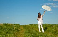 Beautiful girl with white umbrella Stock Photography