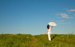 Beautiful girl with white umbrella Stock Images