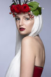 Beautiful girl in white wig, red roses, delicate Royalty Free Stock Images