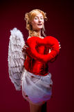 Beautiful girl with white wings Royalty Free Stock Photos