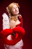 Beautiful girl with white wings Royalty Free Stock Image