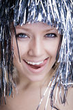 Beautiful girl in a wig Royalty Free Stock Photos