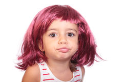 Beautiful girl with a wig Royalty Free Stock Images