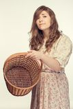 Beautiful girl wiht basket Stock Images