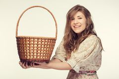 Beautiful girl wiht basket Royalty Free Stock Photo