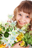 Beautiful girl with wild flower. Royalty Free Stock Photo