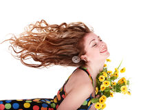 Beautiful girl with wild flower. Royalty Free Stock Photography
