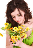 Beautiful girl with wild flower. Royalty Free Stock Photos