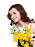 Beautiful girl with wild flower. Stock Photo