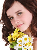 Beautiful girl with wild flower. Royalty Free Stock Image